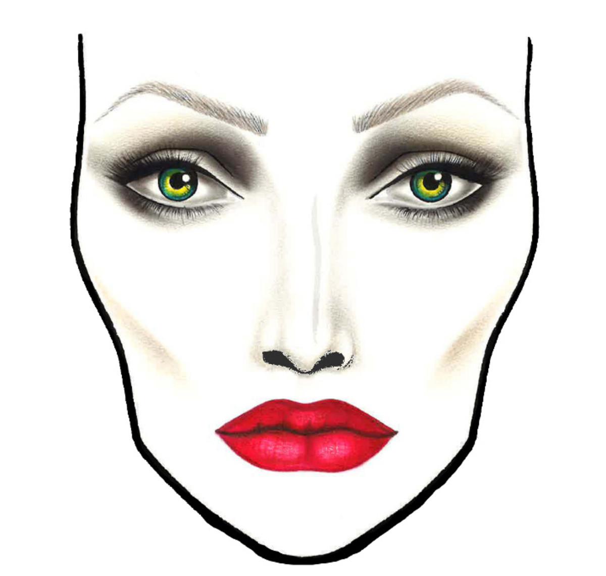 Макет лица для макияжа на бумаге
