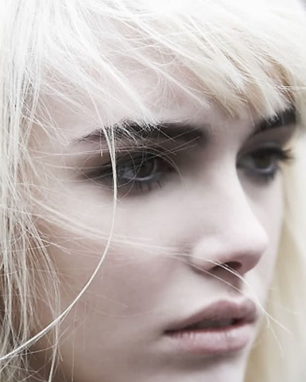 white hair dark brows