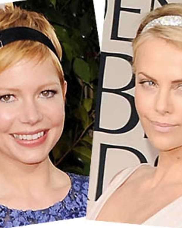 Michelle Williams_Charlize Theron_hairbands_Golden Globes