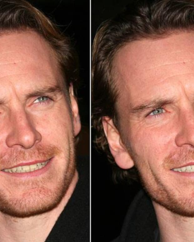 Michael Fassbender before and after Photoshop teeth whitening_1