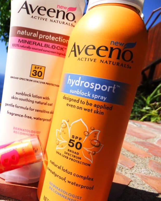 Aveeno Mineral Block SPF 30_Aveeno Hydrosport Sunblock Spray_Maybelline NY Baby Lips SPF 20