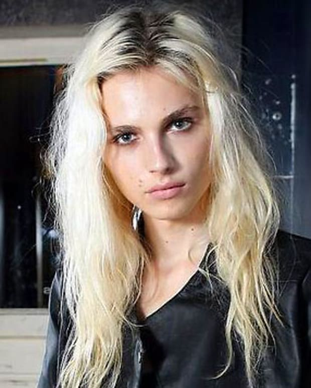 Model Andrej Pejic walks at Toronto Fashion Week