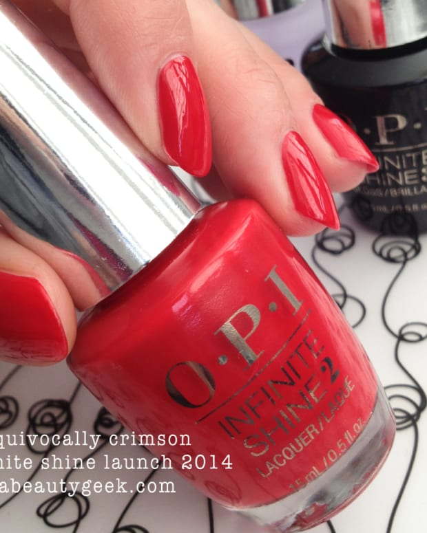 OPI Unequivocally Crimson Infinite Shine Swatch - Version 2