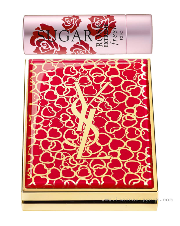 hearts and flowers beauty_Fresh Sugar Rose Extreme Lip Treatment and YSL Chinese New Year Couture Palette