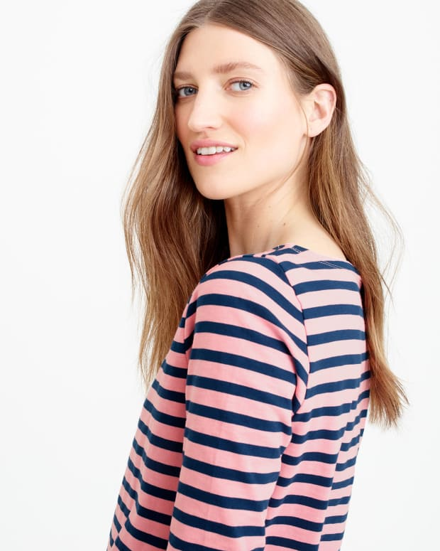 jcrew sale: peony caravan striped boatneck tee