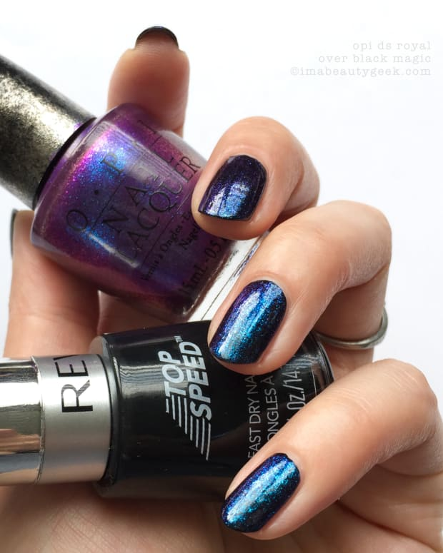 OPI Designer Series Royal 016 Swatches over Black