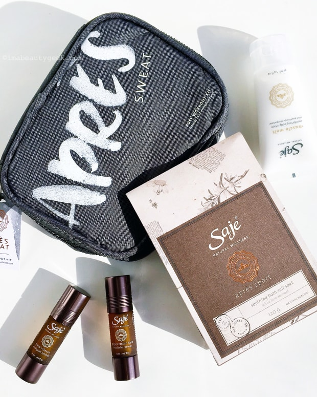 Saje Après Sweat Kit with eucalyptus-and-rosemary bath soak, muscle-melt lotion, massage oil and cooling Peppermint Halo