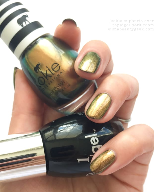 Kokie Nail Polish Swatches Review_Kokie Euporia over Dark Room