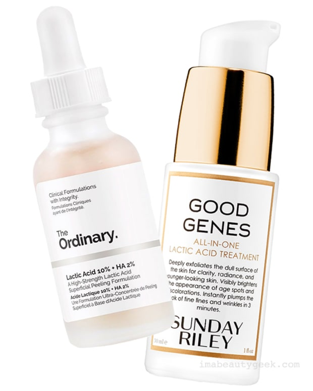 The Ordinary Lactic Acid 10% + HA 2% and Sunday Riley Good Genes All-In-One Lactic Acid Treatment