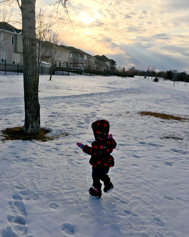how to feel like a kid again in winter_little Hattie in Winnipeg
