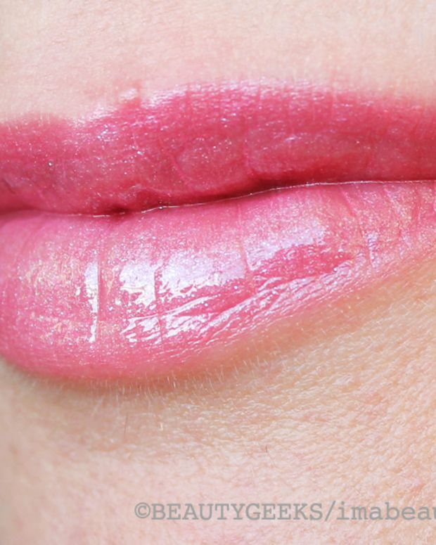 Lise Watier Rose Tendresse Lipstick plus Sparkle of Hope Gloss swatched
