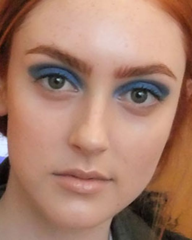 blue eye shadow backstage at Todd Lynn
