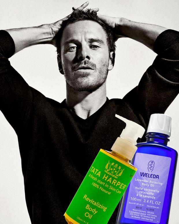 Tata Harper Revitalizing Body Oil_Weleda Lavender Relaxing Body Oil_Michael Fassbender_photo from interviewmagazine.com