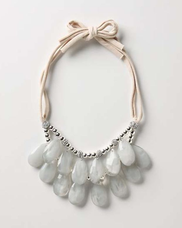 Anthropologie metal_acrylic_cotton jersey Stormy Sea bib necklace in Blue Motif $52.85 CAN $48 US