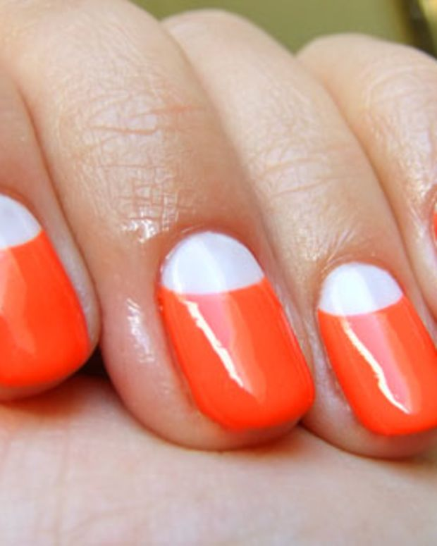 OPI Axxium in Alpine White with CND polish in Electric Orange