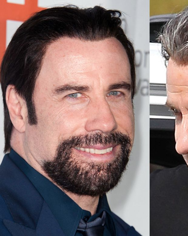 John Travolta hair black and hair with grey