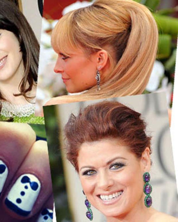 Zooey Deschanel_Nicole Ritchie_Debra Messing_Zooey Deschanel tuxedo nails