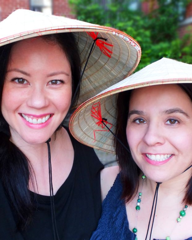Janine and Angela_Chinese hats