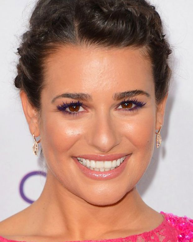 lea-michele_makeup_purple mascara_people's-choice-awards-2013