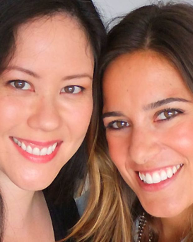 With makeup artist Jenna Menard (right), Clinique Global Colour Artist
