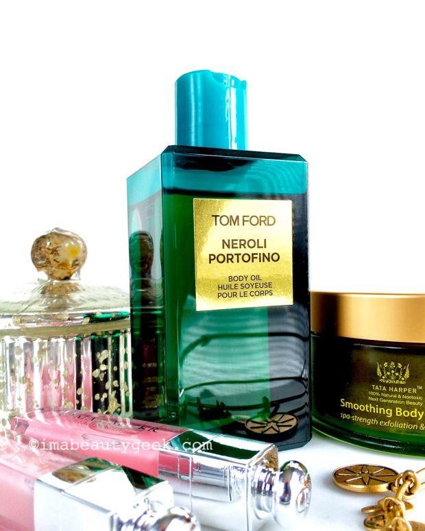 Tom Ford Neroli Portofino body oil, Tata Harper Body Scrub, Dior Lip Maximizer