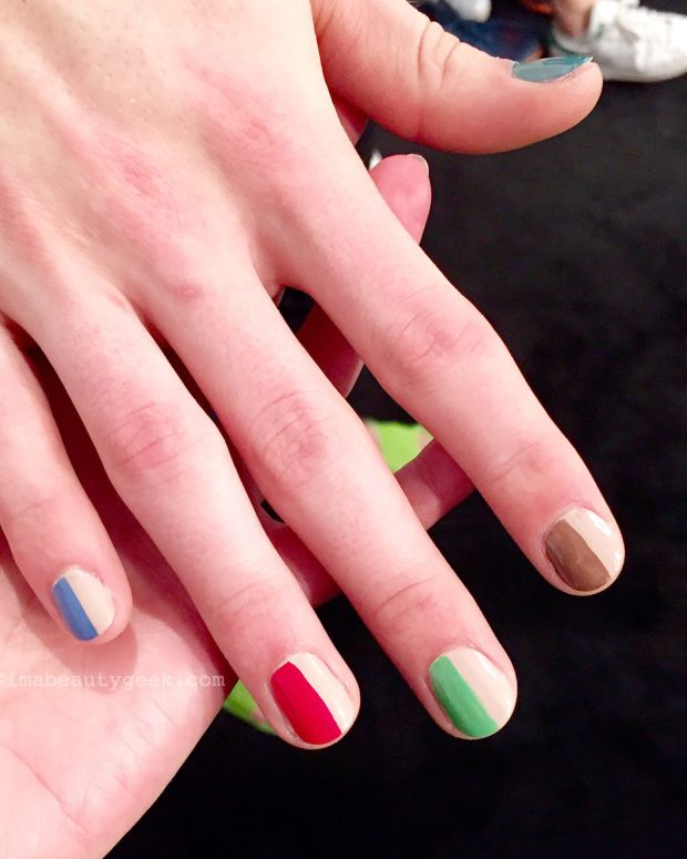 Essie Split-Screen multi-colour mani on male models at Toronto Fashion Week