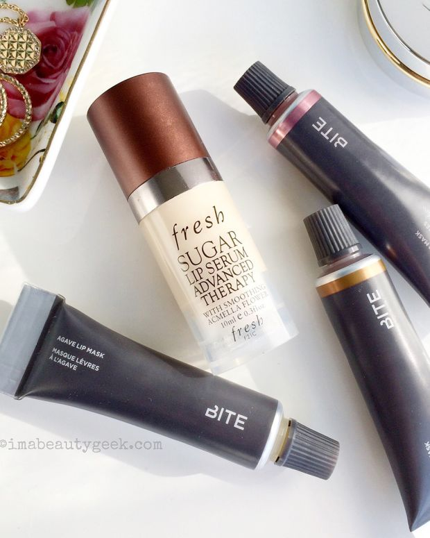 Bite Agave Lip Mask Natural, Maple and Champagne + Fresh Sugar Lip Advanced Therapy Serum