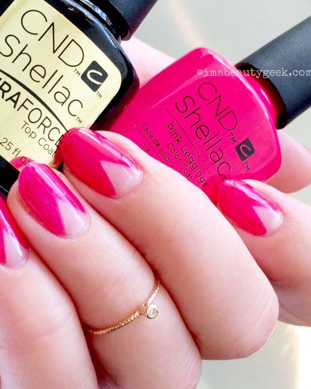 CND Shellac Duraforce Top Coat and CND Shellac Pink Leggings chevron mani.jpg