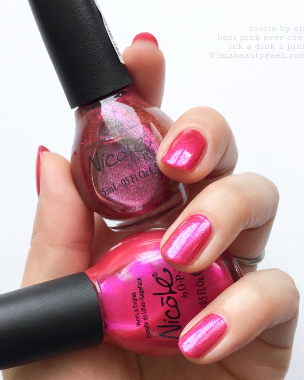 Nicole by OPI Best Pink Ever over Ink a Dink a Pink_Nicole by OPI Swatches 2017