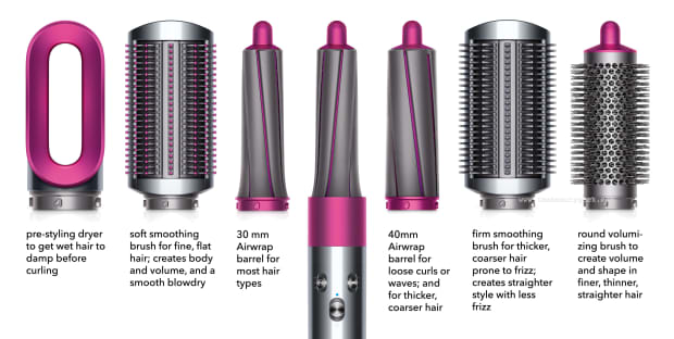 Dyson Airwrap and attachments with text