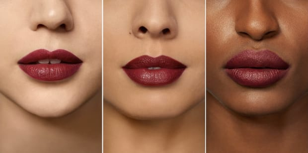Laura Mercier Rouge Essential Lipstick in Rouge Profond three skintones