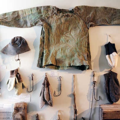 ICELAND Wow Air_Icelandic clothing made out of fish skin_double-thumb mittens_Skogar Folk Museum.jpg