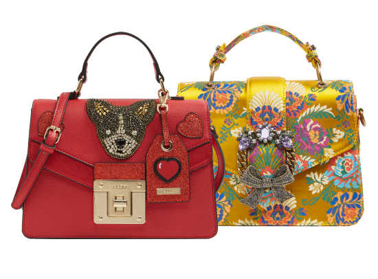 Chiappini red purse $60 and Telawen embroidered purse $22.98 at Aldo and aldoshoes.com