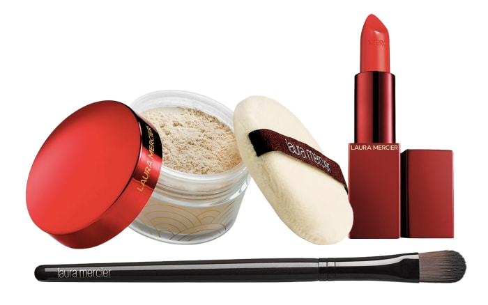 How to get lipstick to stay on longer: Laura Mercier Set For Luck Translucent Setting Powder with Puff, Lunar New Year Stroke Of Fortune Rouge Essential Lipstick in Firecracker, and Camouflage Powder Brush