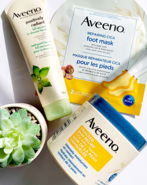 Aveeno Positively Radiant 60 Second In-Shower Facial Cleanser, Repairing Cica Foot Mask and Cracked Skin Relief Cica Balm
