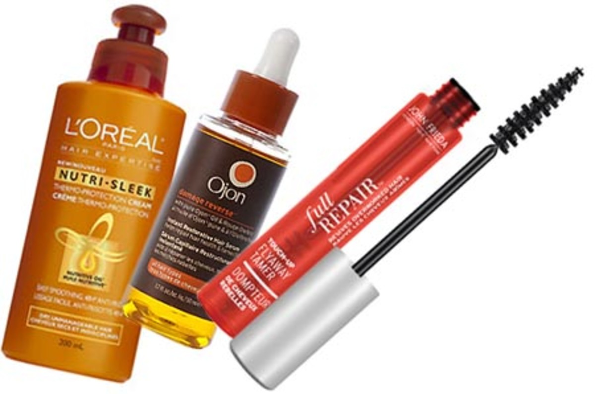 Frizz busters: L'Oreal Paris Nutri-Sleek Smoothing Cream Care, Ojon Instant Restorative Hair Serum, John Frieda Full Repair Touch Up FlyAway Tamer (discontinued -- *sob*)