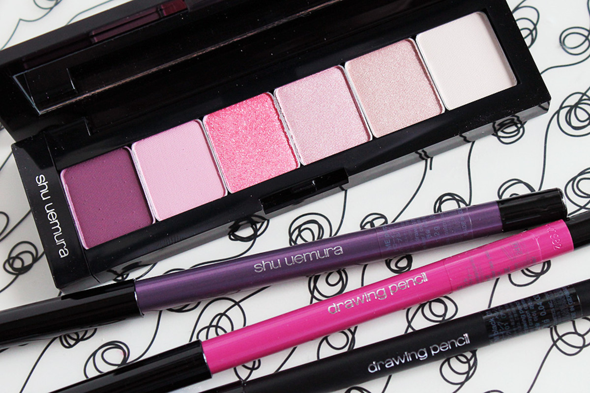 pink eyeliner_Shu Uemura ready to wear pinks eyeshadow palette and drawing pencils