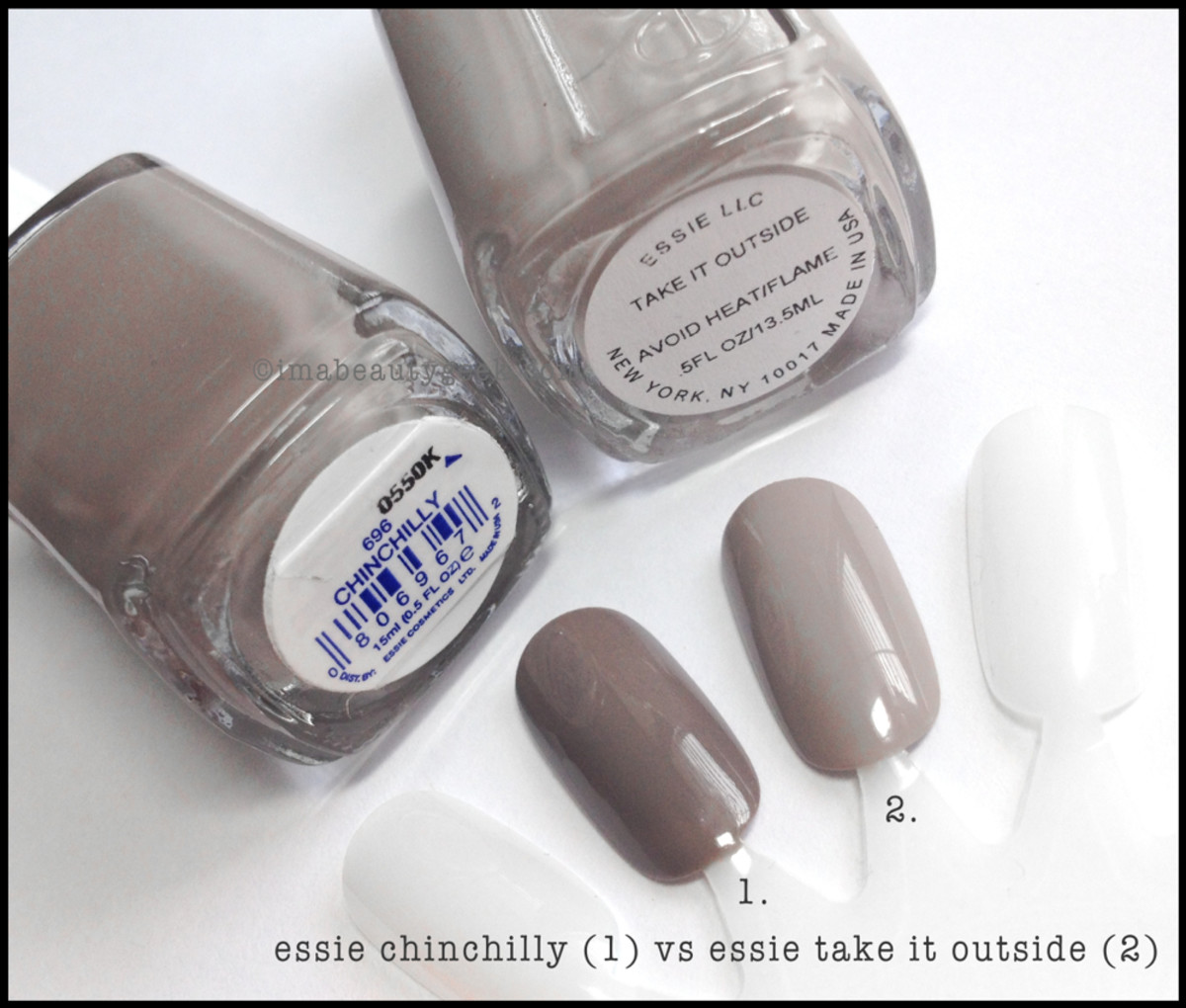 Essie Chinchilly Take it Outside Comparison Swatch