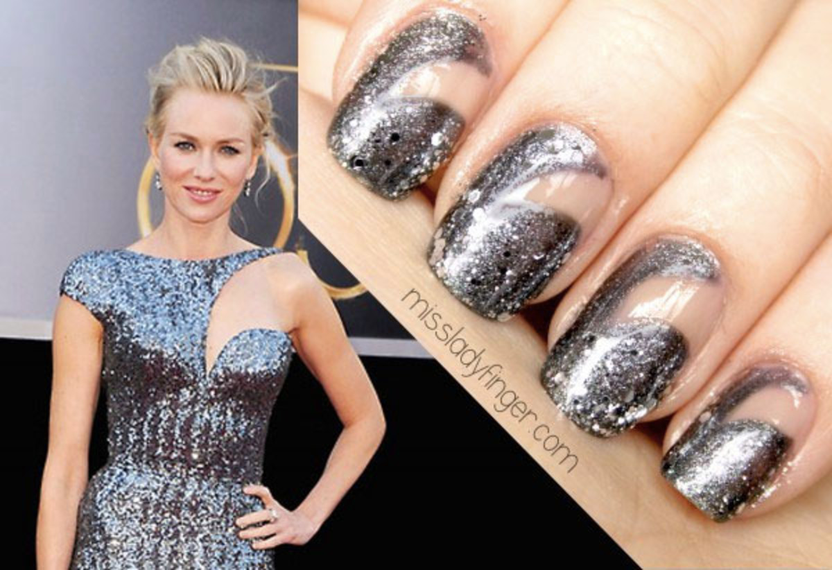 Naomi Watts in Armani Privé; the manicure she inspired