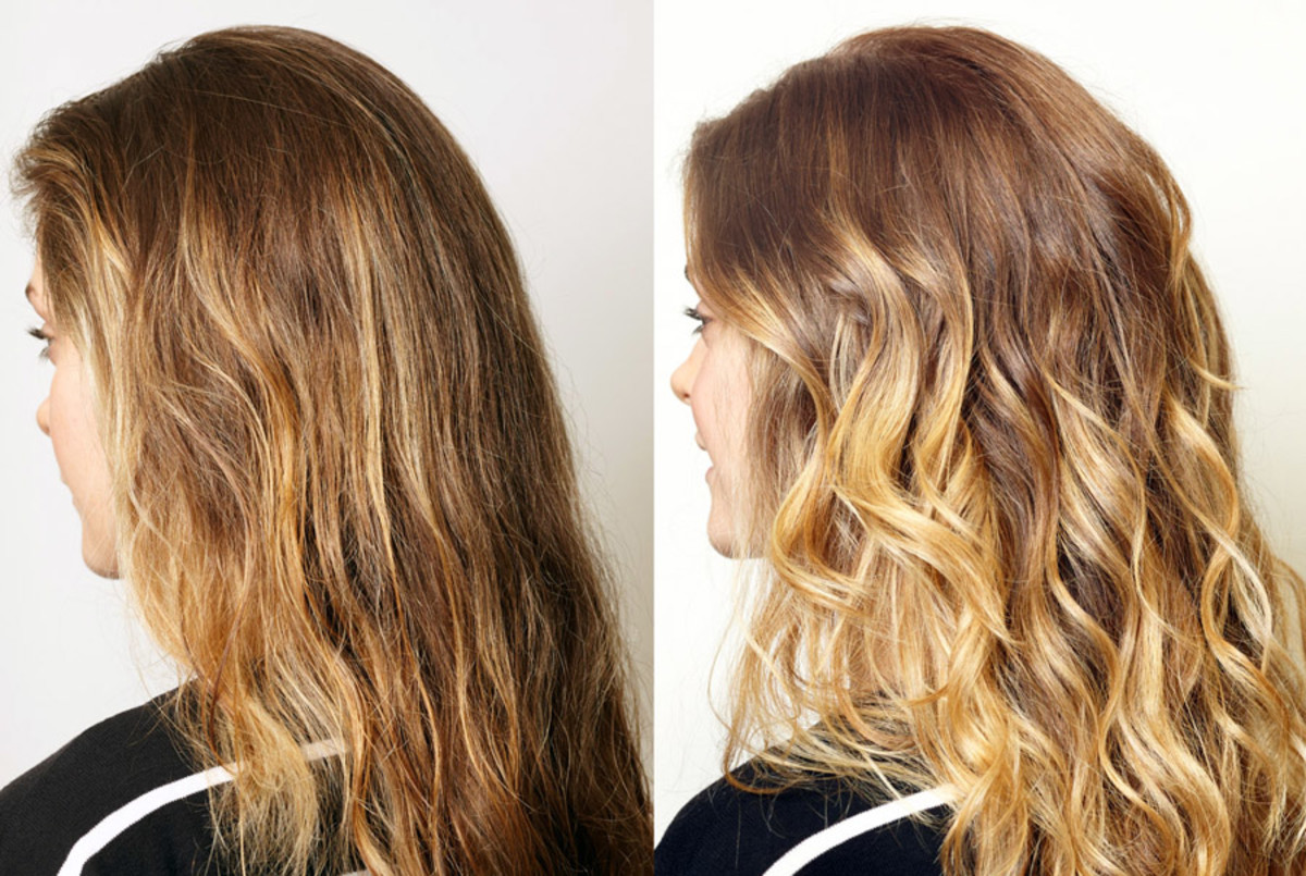 before and after this DIY balayage -- ballyage -- technique