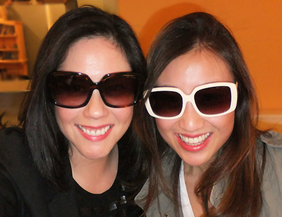 Kathy and I are wearing her KayTran Cecilia frames; I'm in Amber Honey, she's in Vanilla.