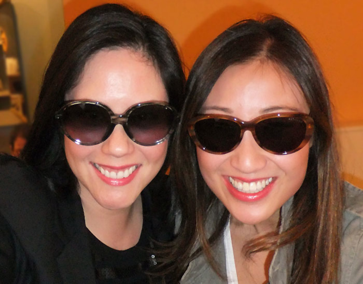 I'm wearing KayTran Olivia frames in Black Glass; Kathy's in Allison in Golden Maple.