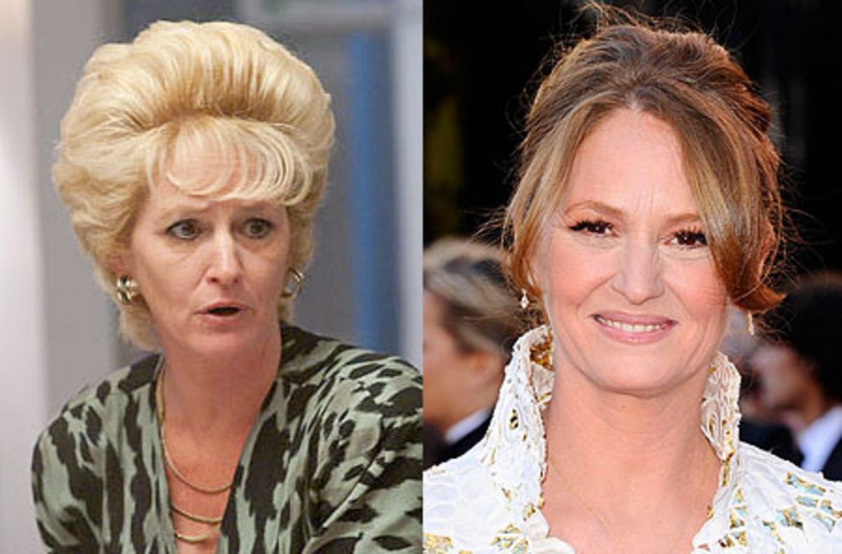 Melissa Leo as Alice Ward in The Fighter (left) and on the Oscars 2011 red carpet