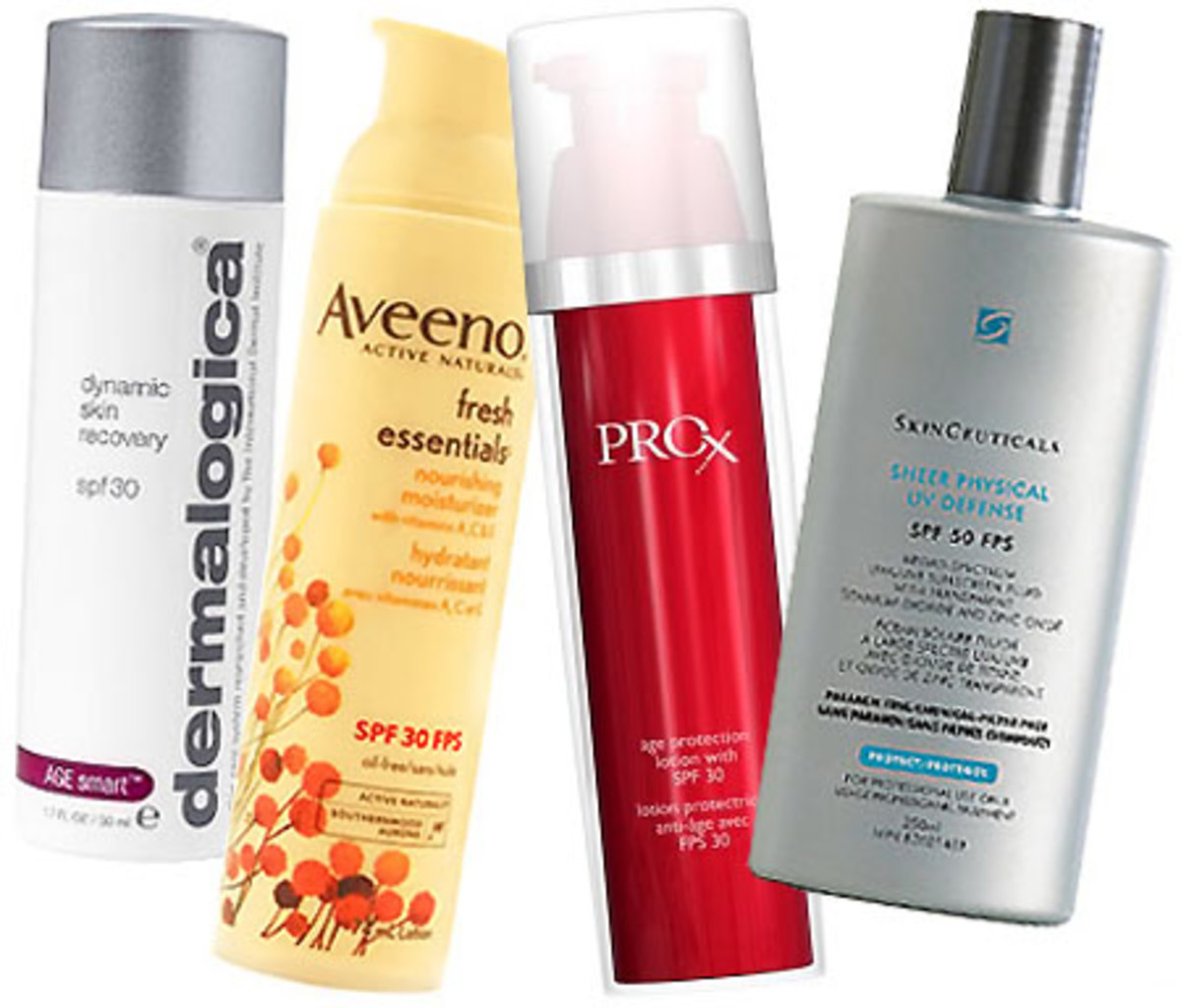 Dermalogica-Dynamic-Skin-Recovery_Aveeno-Fresh-Essentials_Olay Professional Pro X Age Repair Lotion SPF 30_Skinceuticals-Sheer-Physical-UV-Defense