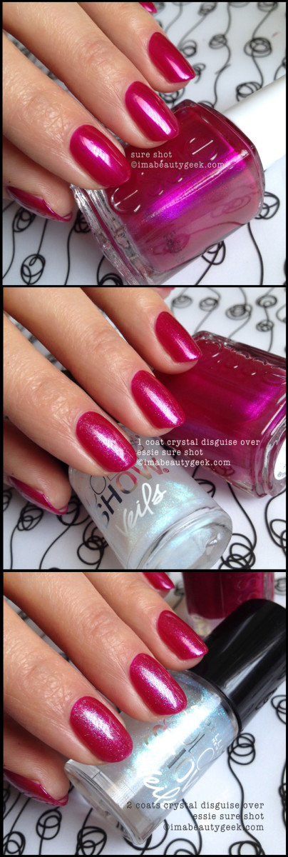 Maybelline Crystal Disguise Veils over Essie Sure Shot
