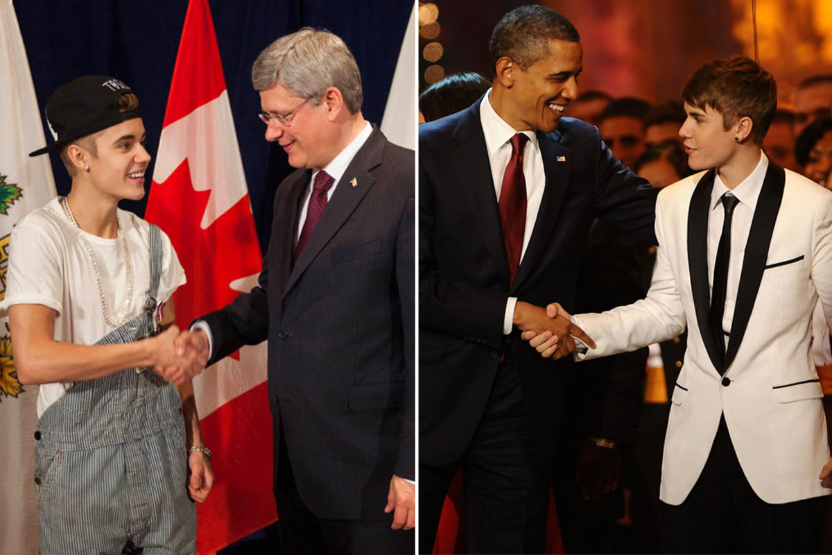 Justin Bieber and Canadian Prime Minister Stephen Harper_Justin Bieber and US President Barack Obama