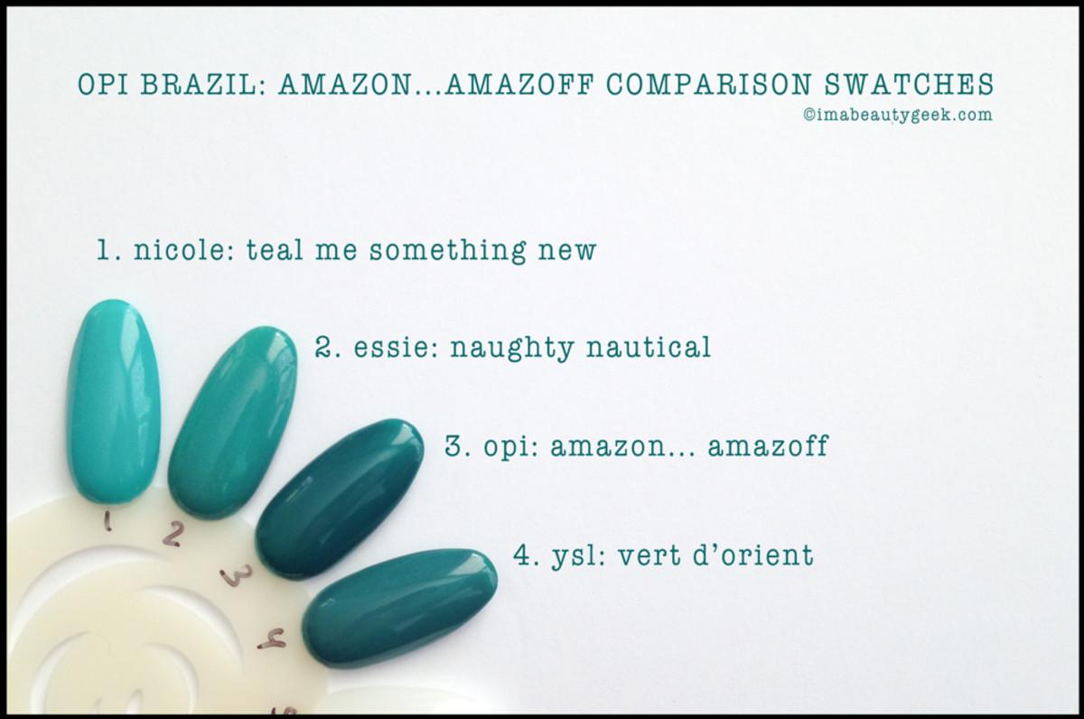 OPI Amazon Amazoff Comparison Swatches