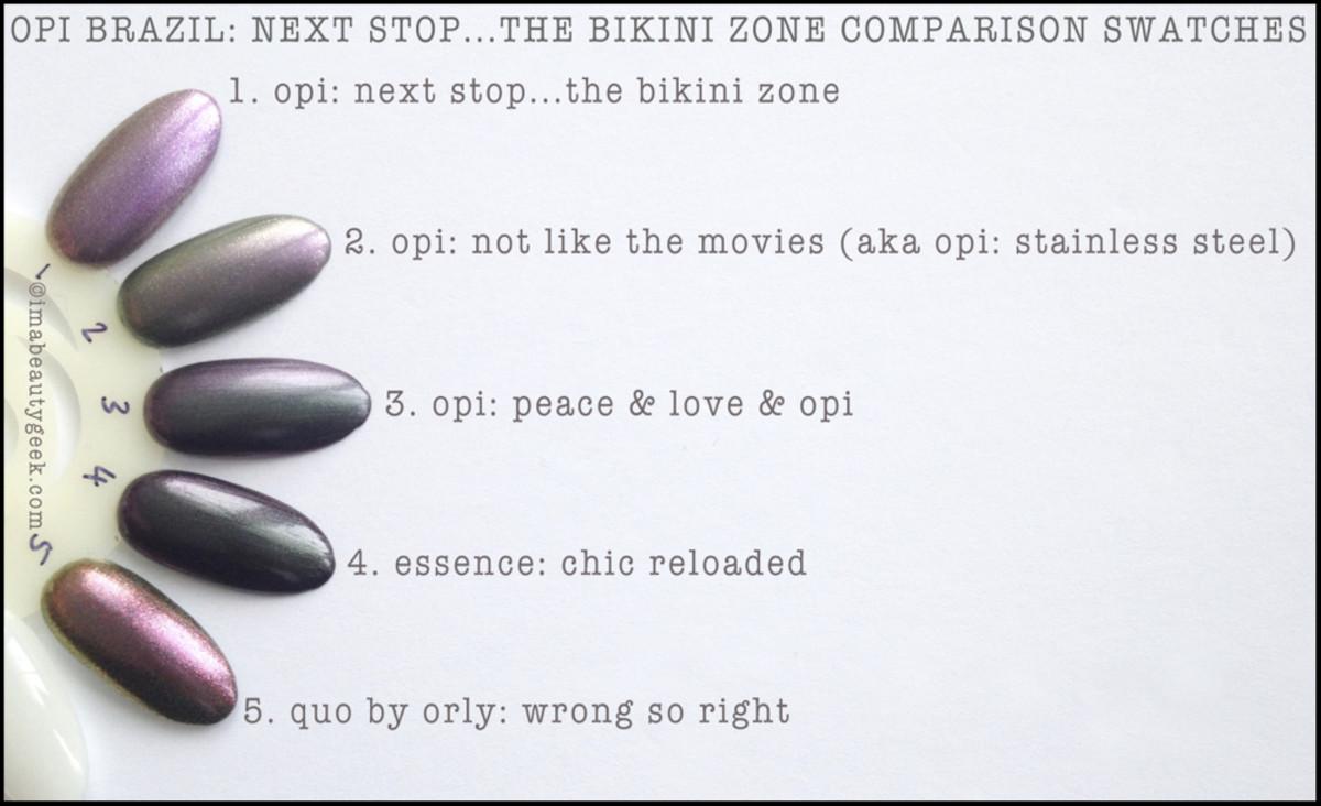 OPI Next Stop Bikini Zone Comparison Swatches