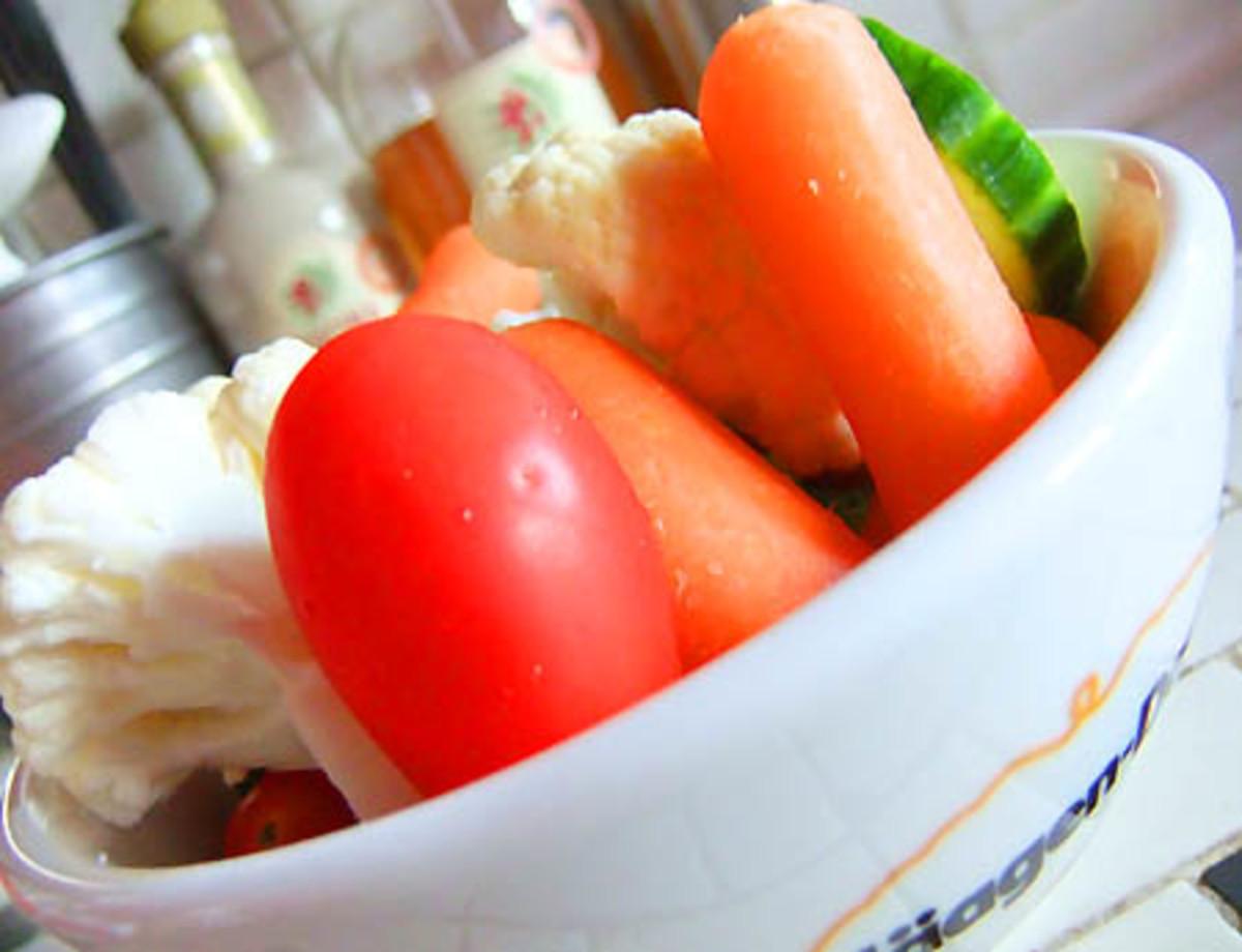 veggies in Haagen Dazs dish