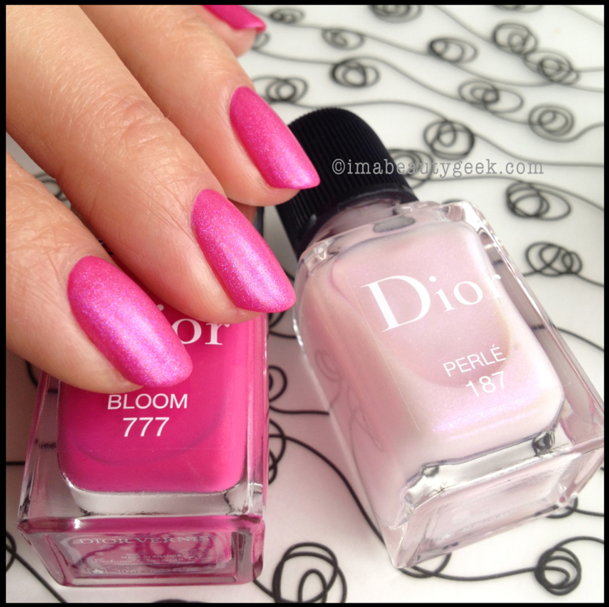 Dior Bloom 777 with Perle 187_Dior Spring 2014 nails Trianon edition